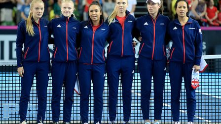 Great Britain line up at the Fed Cup at the Copper Box Arena (pic Adam Davy/PA)
