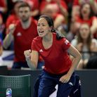Great Britain's Anne Keothavong celebrates during the Fed Cup at the Copper Box, London.