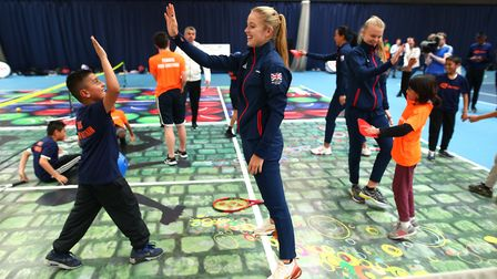 Youngsters met with GB's Fed Cup team prior to the World Group II play-off with Kazakhstan (pic Char