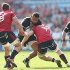Saracens' Billy Vunipola is tackled by Munster's Jack O'Donoghue during the European Champions Cup s