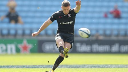 Saracens Owen Farrell kicks a penalty during the European Champions Cup semi final match at the Rico