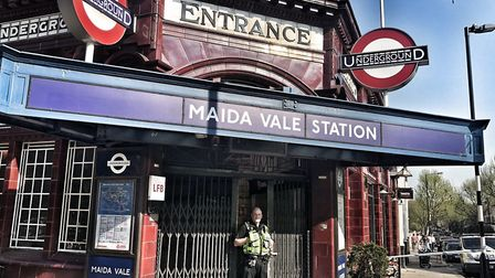 """British Transport Police outside of Maida Vale station after a """"serious assault"""" on Easter Sunday. P"""