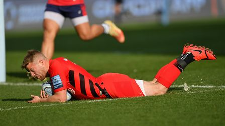 Saracens' Tom Whiteley scores the first try against Bristol Bears (pic: Simon Galloway/PA)