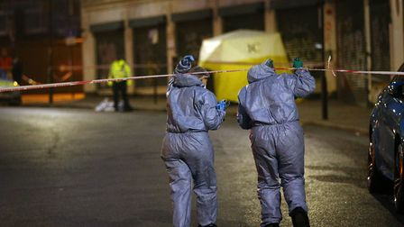 The road was taped off after the stabbing. Picture: Yui Mok/PA Wire