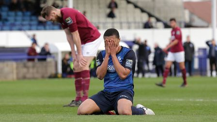Tanasheh Abrahams of Wingate & Finchley reacts after a missed chance (pic: Gavin Ellis/TGS Photo).