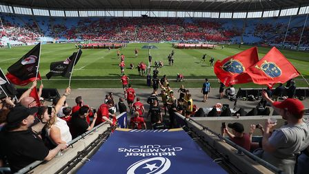 Saracens and Munster take the field for the European Champions Cup semi final match at the Ricoh Are
