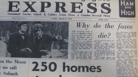 The Highgate vampire story featured on the front page of various editions of the Hampstead & Highgat