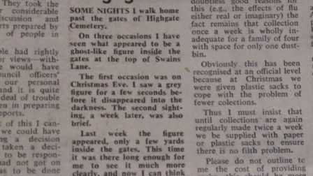 The letter from Highgate resident David Farrant claiming that he had seen a ghost in the 6 February