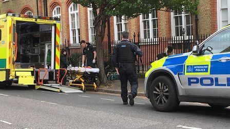 The scene in Wilton Way, Hackney, after a man was stabbed. A few hundred yards away and moments earl