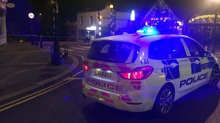 Police were at the scene just after 9.20pm last night. Picture: Liam Coleman