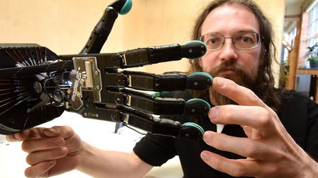Rich Walker from Shadow Robot Company in Gospel Oak, with his robot hand. Picture: Polly Hancock