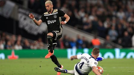 Ajax's Hakim Ziyech (left) and Tottenham Hotspur's Toby Alderweireld battle for the ball during the