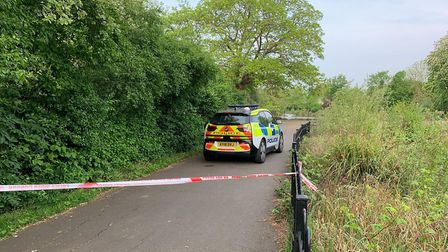 Clissold Park was taped off by police after a woman was raped. Picture: @999London