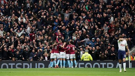 West Ham United's Michail Antonio celebrates scoring his side's first goal of the game during the Pr