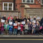 Children and parents from William Patten Primary School campaigning against local road closure propo