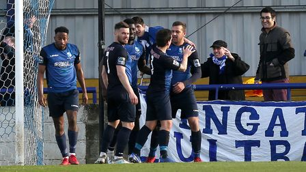 Wingate celebrate scoring in the Bostik Premier (pic: Gavin Ellis/TGS Photo).