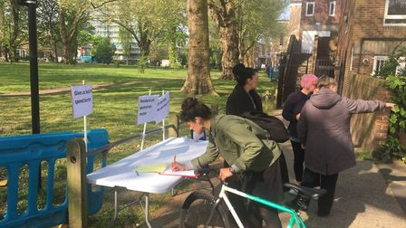 The information desk at the protest. Picture: Nina Lloyd