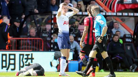 Tottenham Hotspur's Juan Foyth (centre) reacts after being shown a red card by referee Craig Pawson