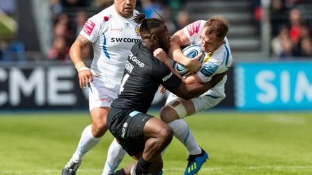 Exeter Chiefs' Max Bodilly and Saracens' Rotimi Segun during the Gallagher Premiership match at Alli
