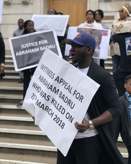 """""""We want justice"""": Sheun David Onamusi leads the call for help to trace Abraham Badru's killers. Pic"""