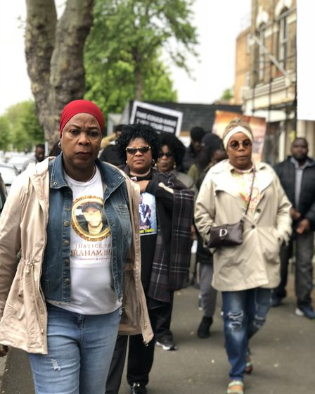 """""""We want justice"""": Abraham Badru's family and friends march to Hackney Town Hall to call on any witn"""