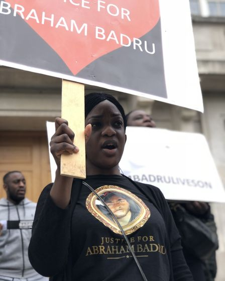 """""""We want justice"""": Abraham Badru's cousing Beatrice outside Hackney Town Hall. Her family are pleadi"""