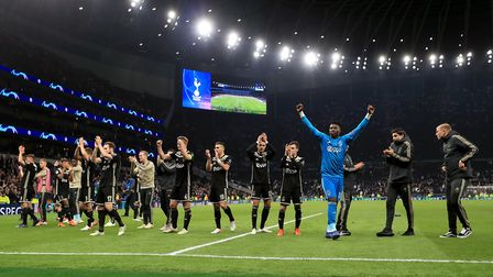 Ajax players celebrate after the final whistle of the Champions League semi-final, first leg against
