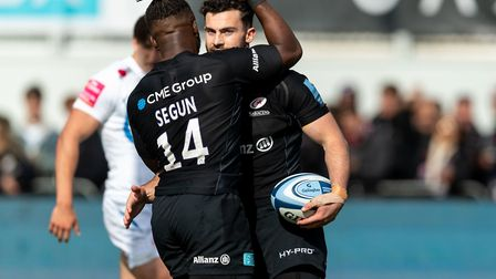 Dom Morris is congratulated by Rotimi Segun after scoring for Saracens against Exeter Chiefs (pic: P