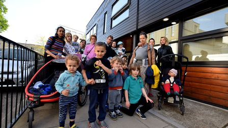 Parents and children outside the Ann Tayler nursery in Triangle Road, London Fields. Picture: Polly