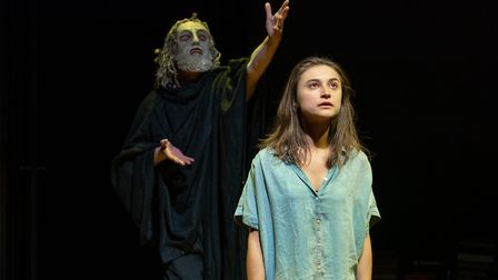 Paul Brennen as Euripedes and Isabella Nefar as Jude picture credit Marc Brenner