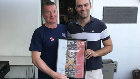 Hampstead chairman Nick Brown (left) with Liam Hughes during the 2018 season (pic: Hampstead CC/Nick
