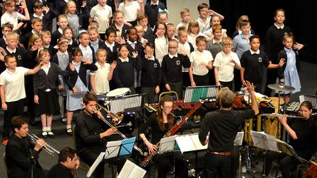 Youngsters performing on stage at the Marina Theatre alongside the Royal Philharmonic Orchestra. Pic