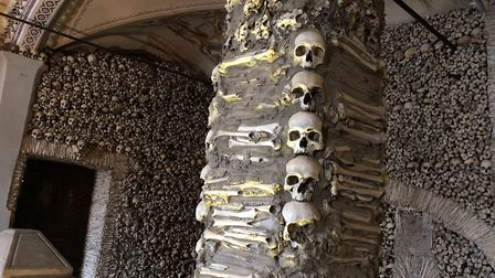 The macabre Chapel of Bones in Évora - the walls of which Franciscan monks covered entirely with bon