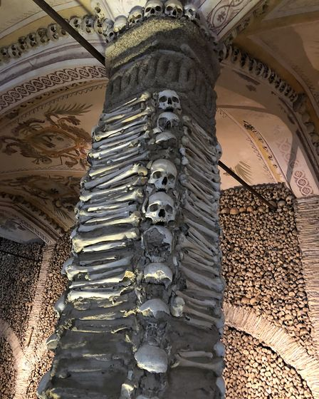 The Chapel of Bones in Évora was built by Franciscan monks in the late 16th century.. Picture: Emma