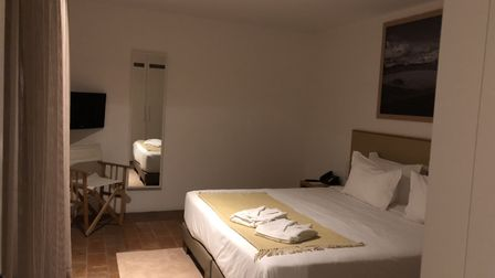 The boho chic bedroom in one of the huge independent suites at the Tivoli Évora eco hotel. Picture: