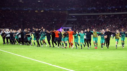 The Tottenham Hotspur team celebrate after the final whistle of the Champions League semi-final, sec