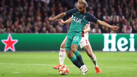 Tottenham Hotspur's Lucas Moura (centre) scores his side's first goal of the game during the Champio