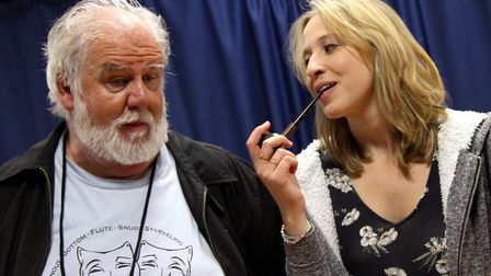 John Chapman and Aimee Morris in rehearsals for Merry Wives of Windsor. Picture: Robert Piwko.