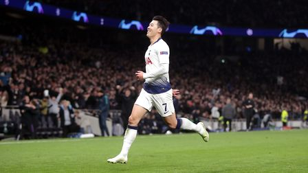 Tottenham Hotspur's Heung-min Son celebrates scoring his side's first goal of the game during the Ch