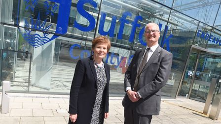 The new leader of Suffolk County Council Matthew Hicks, with his deputy Mary Evans Picture: GREGG