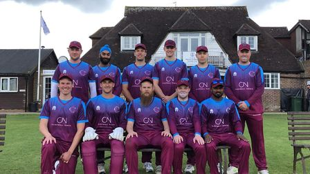 Hampstead players face the camera before their Middlesex County Premier Division opener at Harrow St