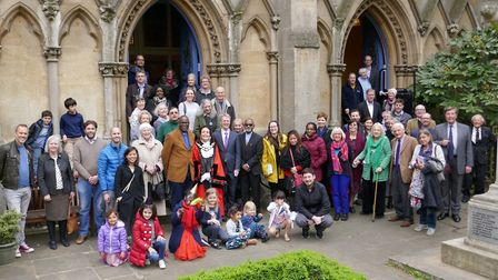 Highgate URC congregation and minister outside the church on its 160th anniversary. Picture: Martin