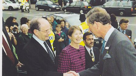 Gerry Isaaman meets Prince Charles and Glenda Jackson outside Hampstead Town Hall. Picture: Nigel Su