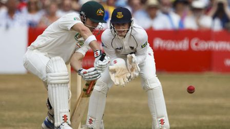 Australia's Ed Cowan bats watched by then-Sussex wicket-keeper Callum Jackson during an internationa