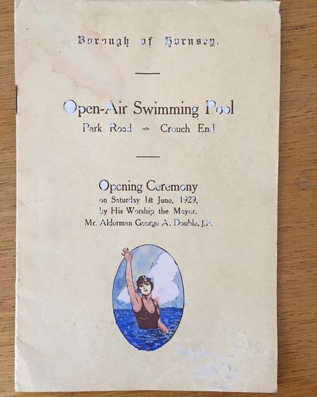 The front cover of the opening programme for the Park Road Lido in 1929. Picture: Hornsey Historical