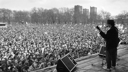 A close-packed audience stretches far into a free pop festival in Victoria Park in 1978, which broug