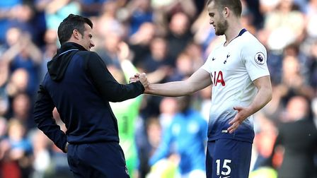 Everton manager Marco Silva (left) speaks to Tottenham Hotspur's Eric Dier after the Premier League