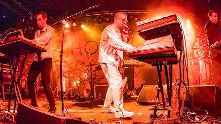 Owen Clarke (left) performs live with Hot Chip. Picture: Mike Burnell.