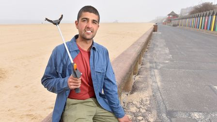 Ajay Tegala on Lowestoft Beach supporting The Big Coast Clean Up.Picture: Nick Butcher