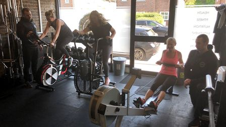 Staff put people through their fitness paces at pH7 gym to fundraise for defibrillators. Picture: pH